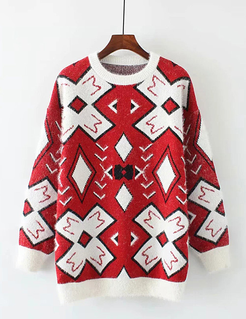 Trendy Red Geometric Shape Pattern Decorated Sweater
