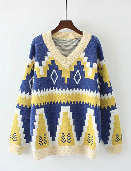 Trendy Blue V Neckline Design Long Sleeves Sweater