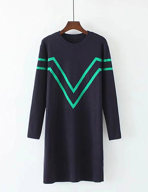 Trendy Navy Round Neckline Design Long Sleeves Dress