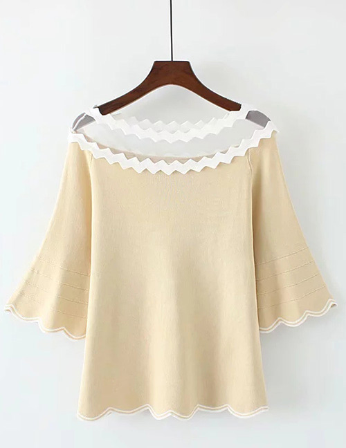 Trendy Beige Wave Shape Design Long Sleeves Sweater