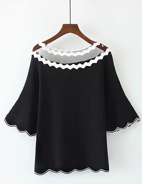 Trendy Black Wave Shape Design Long Sleeves Sweater