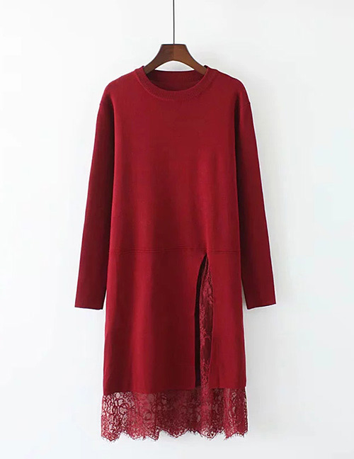 Trendy Claret Red Lace Decorated Pure Color Long Dress