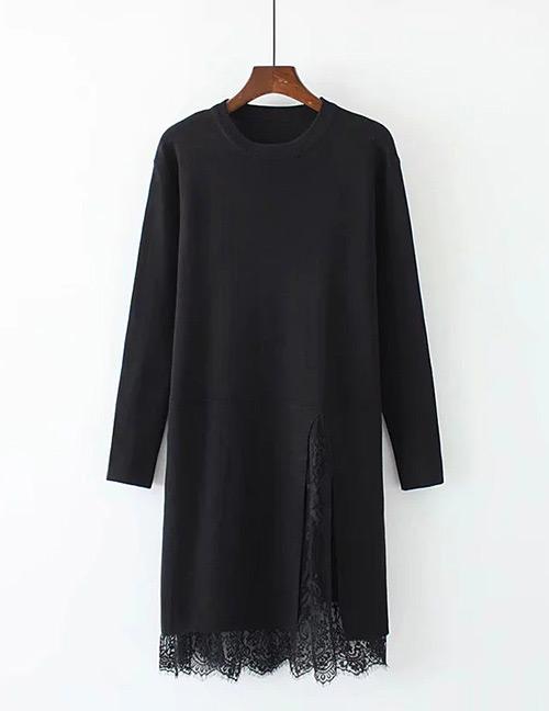 Trendy Black Lace Decorated Pure Color Long Dress