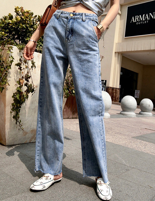 Trendy Blue Pure Color Decorated Loose Pants