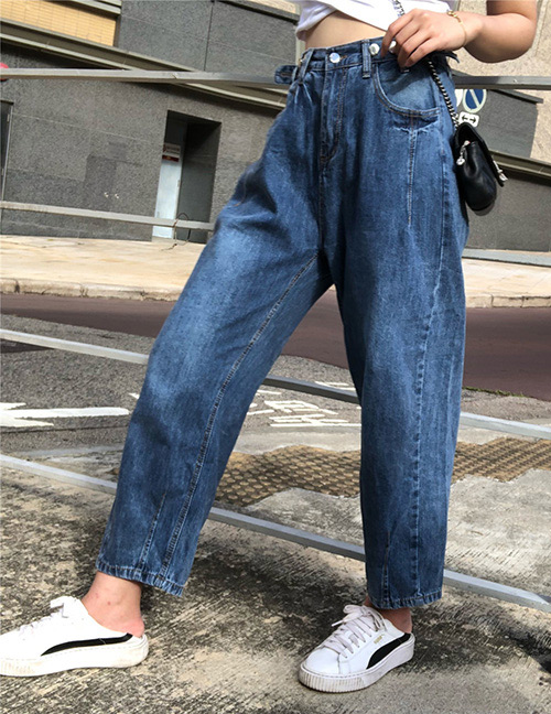 Trendy Blue Buttons Decorated Pure Color Pants