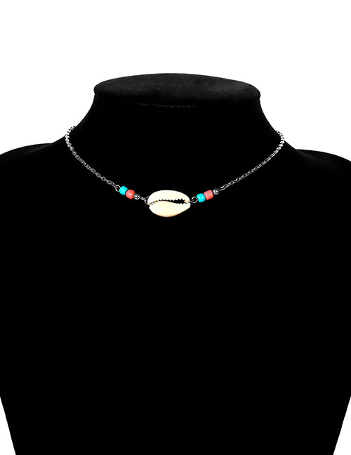 Fashion Silver Color Beads&shellfish Pendant Decorated Choker