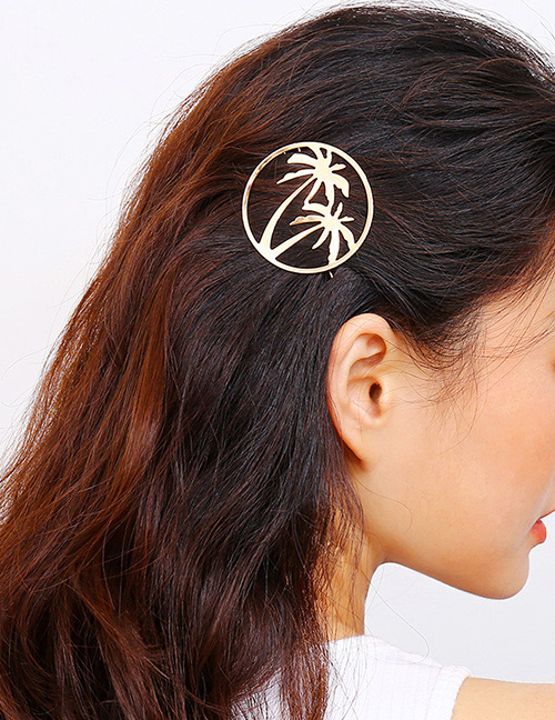 Fashion Gold Color Coconut Tree Decorated Pure Color Hairpin