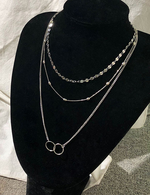 Fashion Silver Color Circular Ring Decorated Necklace
