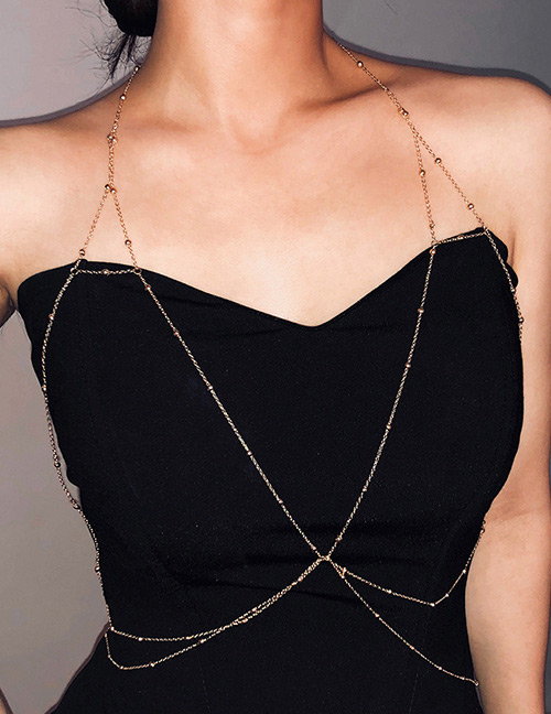 Fashion Gold Color Pure Color Design Multi-layer Body Chain