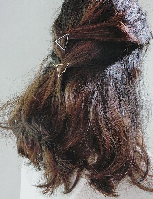 Fashion Gold Color Triangle Shape Design Pure Color Hairpin