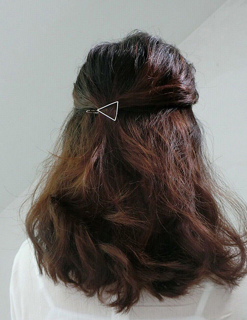 Fashion Silver Color Triangle Shape Design Pure Color Hairpin