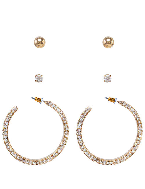 Fashion Gold Color Full Diamond Decorated Earrings(3pairs)