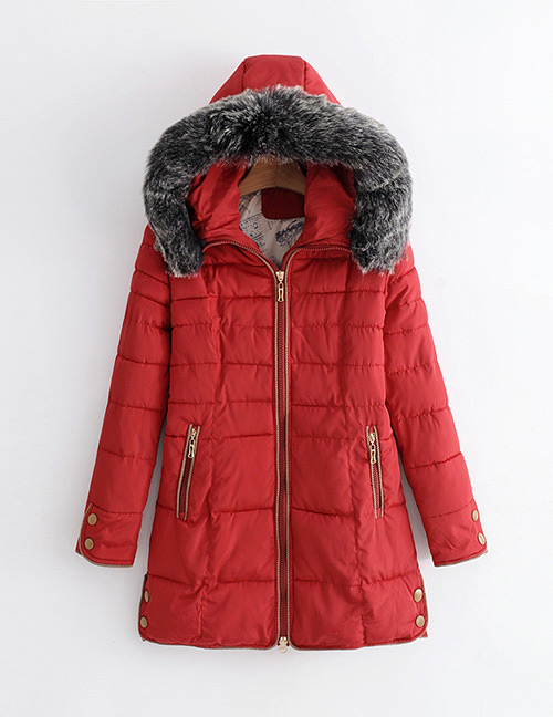 Elegant Red Zippers Decorated Pure Color Coat