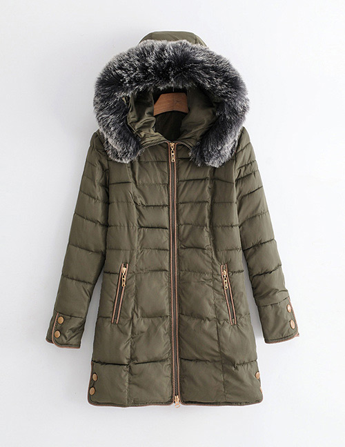 Elegant Olive Zippers Decorated Pure Color Coat
