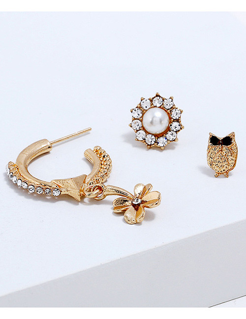 Fashion Gold Color Flower&owl Shape Design Earrings(3pcs)