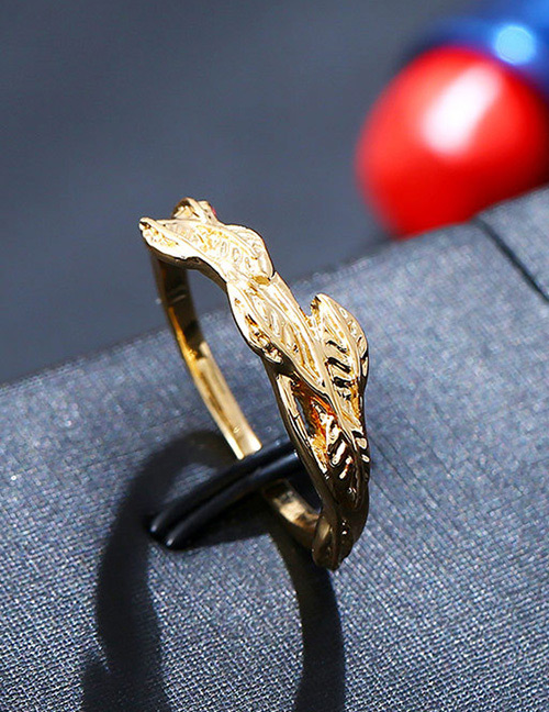 Fashion Gold Color Leaf Shape Design Pure Color Ring
