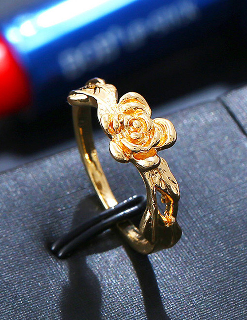 Fashion Gold Color Rose Shape Design Pure Color Ring