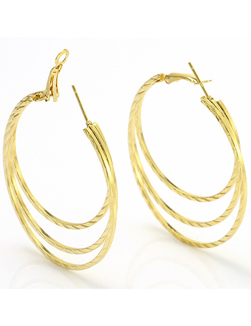 Elegant Gold Color Pure Color Design Multi-layer Earrings