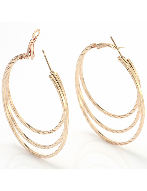 Elegant Rose Gold Pure Color Design Multi-layer Earrings