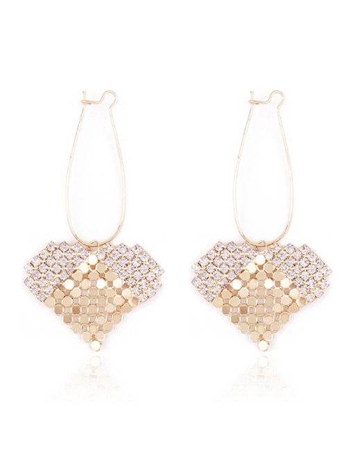 Fashion Gold Color Full Diamond Decorated Heart Shape Earrings