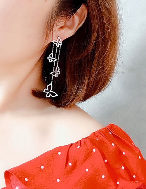 Fashion White Butterfly Shape Decorated Tassel Earrings