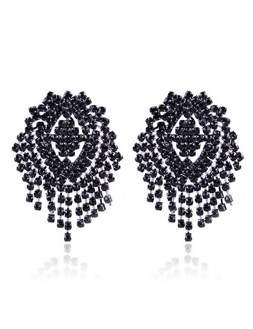 Fashion Black Full Diamond Decorated Earrings