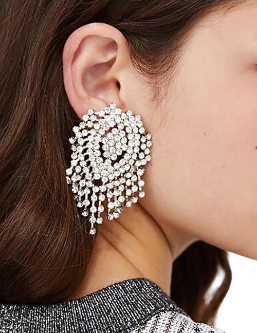 Fashion White Full Diamond Decorated Earrings