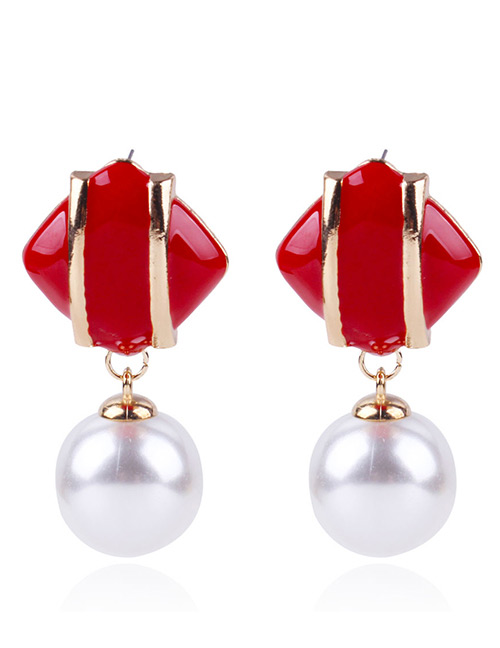 Fashion Dark Red Geometric Shape Decorated Earrings