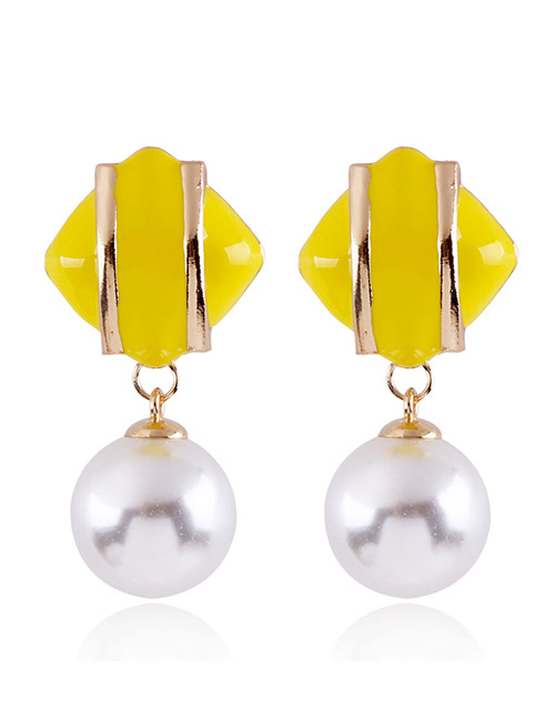 Fashion Yellow Geometric Shape Decorated Earrings