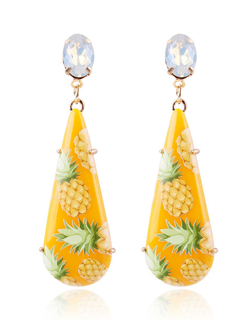 Fashion Yellow Pineapple Pattern Decorated Earrings