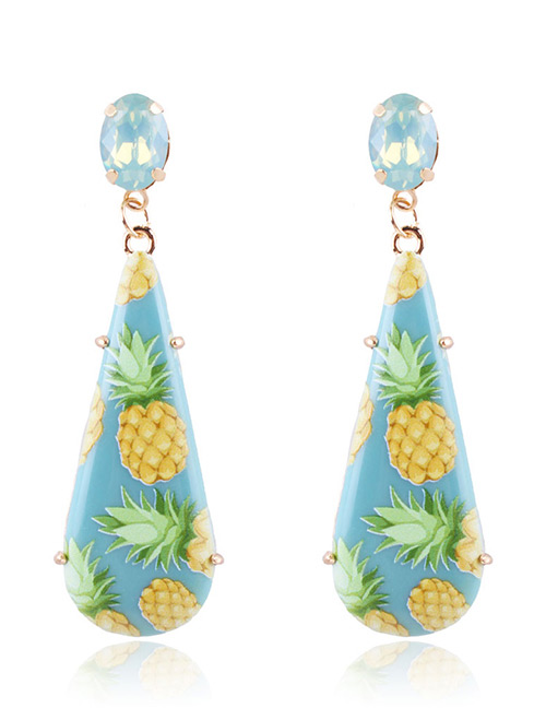 Fashion Blue Pineapple Pattern Decorated Earrings