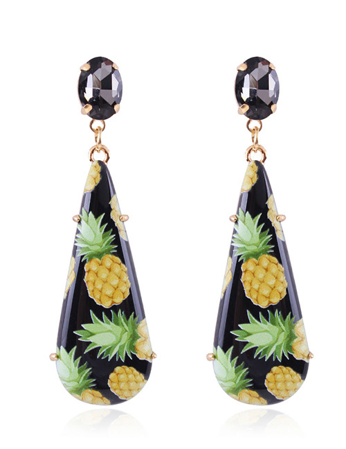 Fashion Black Pineapple Pattern Decorated Earrings
