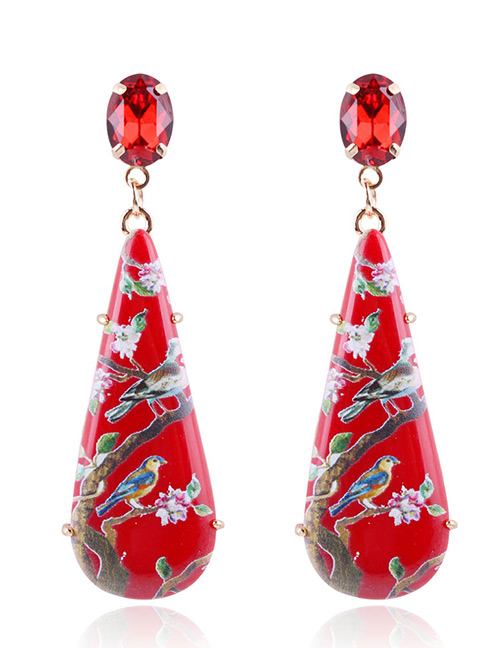 Fashion Red Flower Pattern Decorated Earrings