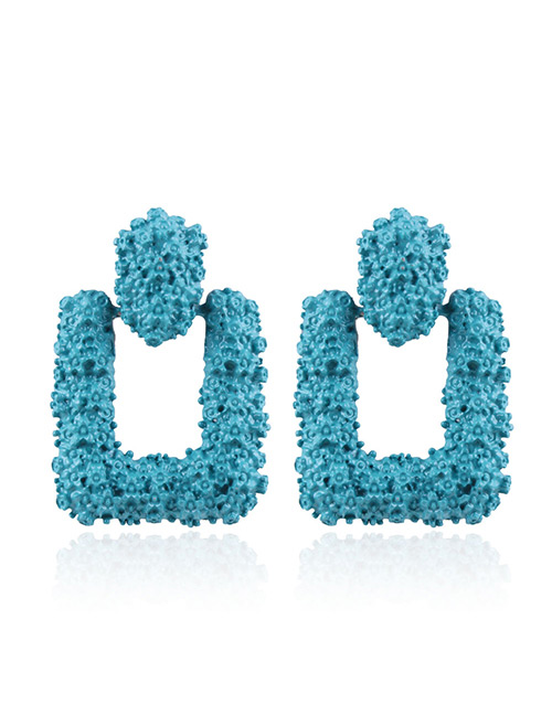 Fashion Blue Pure Color Decorated Earrings