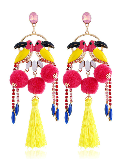 Vintage Red Brids&tassel Decorated Long Earrings
