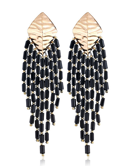 Vintage Black Beads Decorated Pure Color Earrings