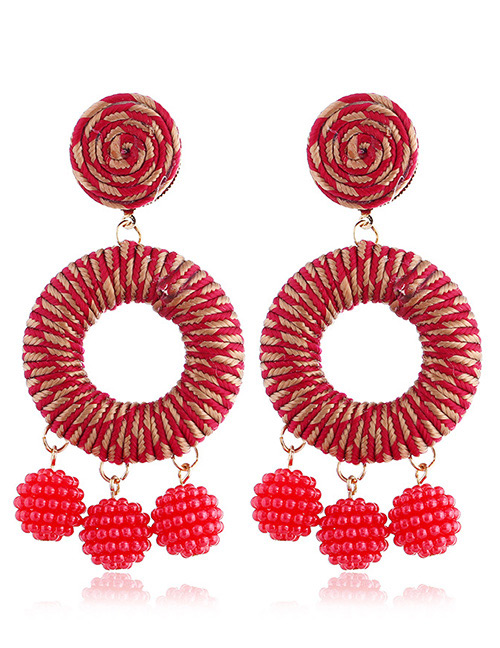 Vintage Red Circular Ring Design Hand-woven Earrings