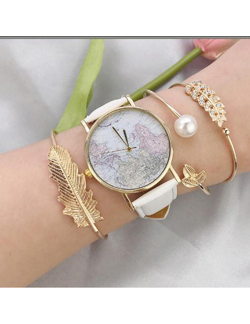 Fashion Gold Color Pearls≤af Deccorated Bracelet(3pcs)