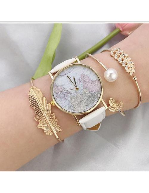 Fashion Gold Color Pearls&leaf Deccorated Bracelet(3pcs)
