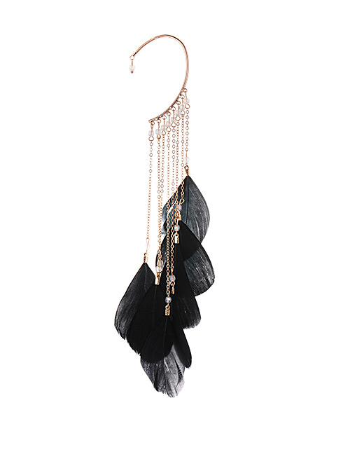 Fashion Black Tassel&feather Decorated Earring(1pc)