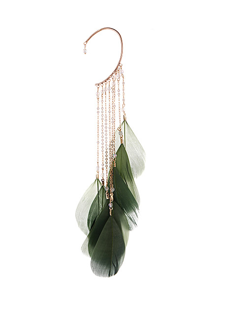 Fashion Green Tassel&feather Decorated Earring(1pc)