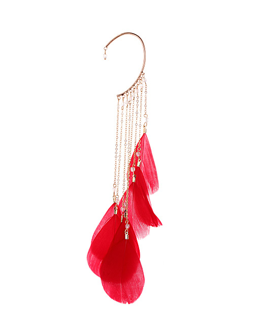 Fashion Red Tassel&feather Decorated Earring(1pc)