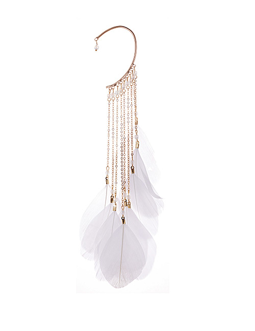 Fashion White Tassel&feather Decorated Earring(1pc)