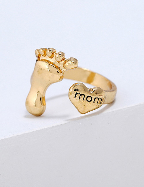 Lovely Gold Color Foot Shape Design Pure Color Ring