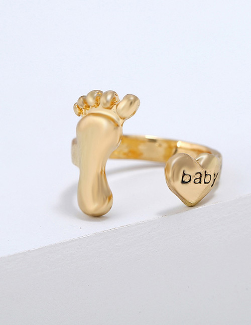Lovely Gold Color Pure Color Design Foot Shape Ring