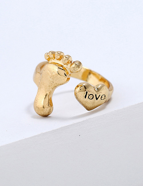 Lovely Gold Color Letter Love Pattern Decorated Ring