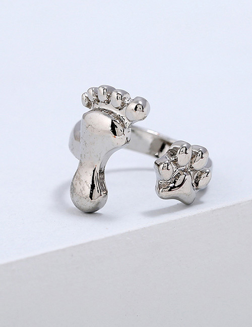 Lovely Silver Color Foot Shape Design Pure Color Ring