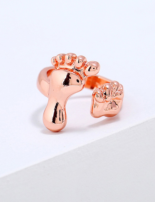 Lovely Rose Gold Opening Design Pure Color Ring