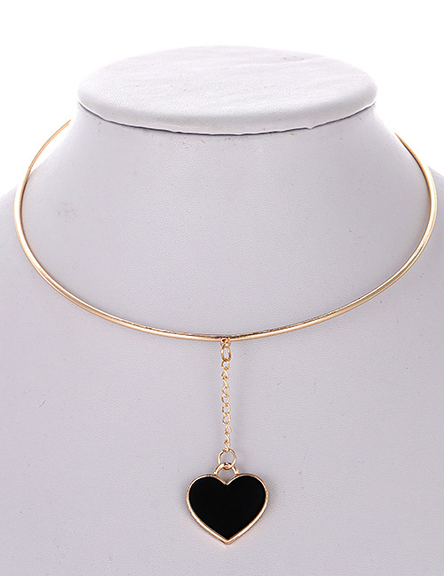 Fashion Black Heart Shape Decorated Simple Choker