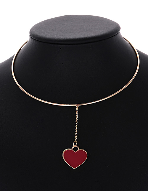 Fashion Red Heart Shape Decorated Simple Choker